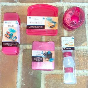 Pink BPA Free Mainstays Lunch Box Bundle